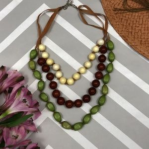 3 Strand Green Yellow Beaded Leather Cord Necklace